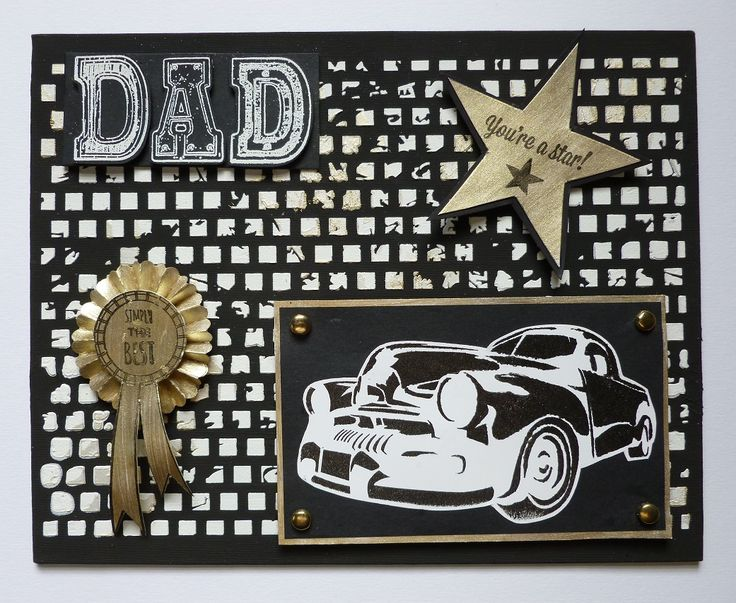 'You're a  Star Dad' Canvas - Imagination Craft's - Small canvas.  Black Gesso.  White structure paste.  Metal spatula.  Gold Metallic Fabric Relief Paste.  Silver gold Starlight Paint.  Mixed Media Art Stencils - AS--446 & MA-22.   Magi-bond glue.  Tim Holtz rosette die.  Versamark pad.  White embossing powder.  Black ink pad.  Stamps - free with Craft Magazine.  June 2017.  Designed by Jennifer Johnston.