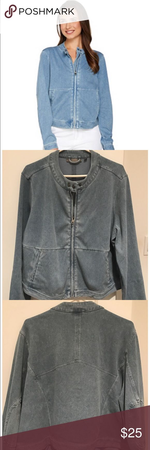 Lisa Rinna Collection Denim Stretch Moto Jacket So flattering on!  Very soft with plenty of stretch. New without tags! Lisa Rinna Collection Jackets & Coats