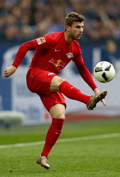 Timo Werner of Leipzig runs with the ball during the Bundesliga match between FC Schalke 04 and RB Leipzig at Veltins-Arena on April 23, 2017 in Gelsenkirchen, Germany.
