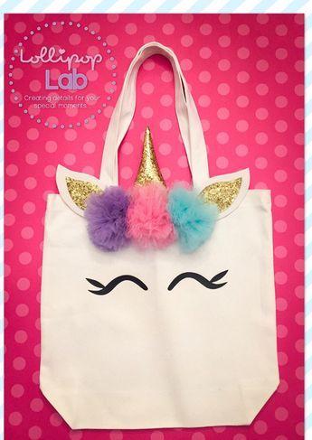 Large Unicorn tote bag, Unicorn tote, Unicorn Bag, Unicorn Canvas, Pompom flowers, Unicorn Halloween bag, Halloween tote, Trick or Treat