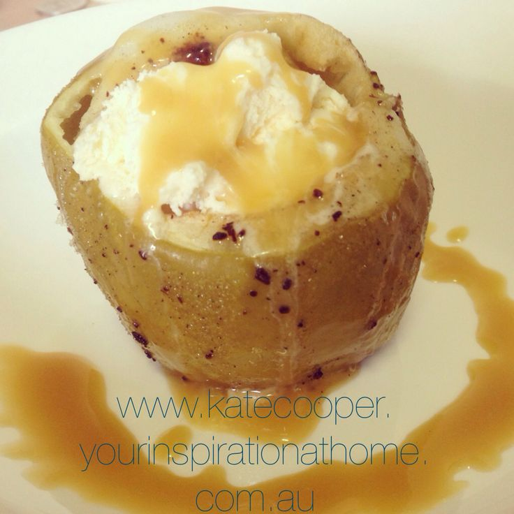 YIAH infused Baked Apple with ice cream and caramel sauce.