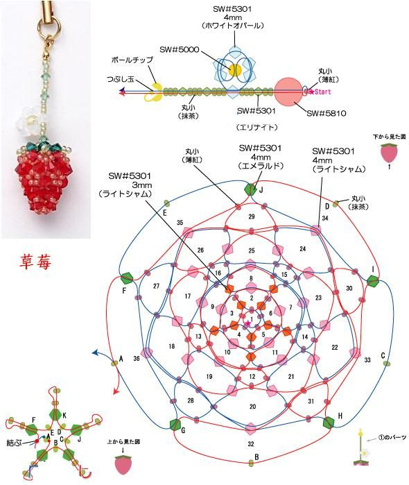 Crystal Beaded Strawberry - Beaded Jewelry Patterns 串珠草莓