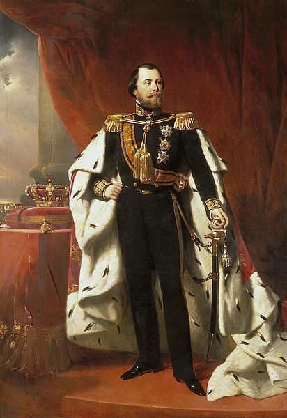 King Willem III of the Netherlands, Nicolaas Pieneman (1856). 1819-1890. Son of William II and Anna Pavlovna of Russia. Married his cousin Sophie of Wurtemberg; they had 3 sons, but all predeceased him. Married Emma of Waldeck and Pyrmont, and their daughter Wilhelmina succeeded him. William III was the last male monarch of the Netherlands until the accession of Willem-Alexander in 2013. Had numerous affairs.