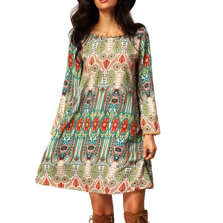 Fashion Summer Vintage Ethnic Dress Sexy Women Boho Floral Printed Casual Beach Dress Loose Sundress-in Dresses from Women's Clothing & Accessories on Aliexpress.com | Alibaba Group