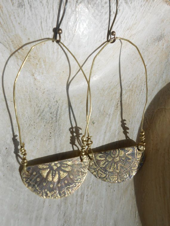 Ancient greek style earrings etched metal ethnic by RosinTrails