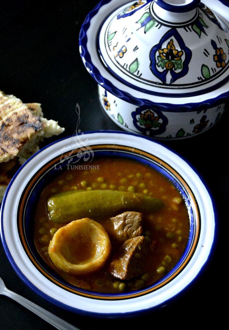Sauce tunisienne aux petits pois et artichauts - Marqet jelbana bil ganariya