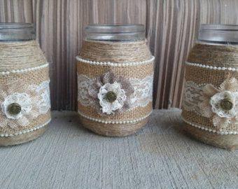 Arpillera y candelabros de encaje tarro de por CountryCraftsnMore