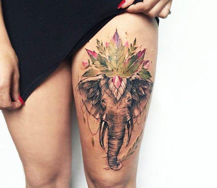 Elefant tattoo by Pissaro Tattoo