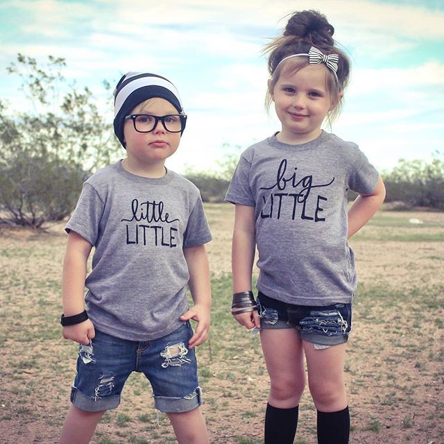 Who says your bigger littles can't coordinate matching outfits? They totally can! // : @7flatlays Little Faces Apparel - matching sibling tees, sister shirt, brother shirt, graphic kids tees.