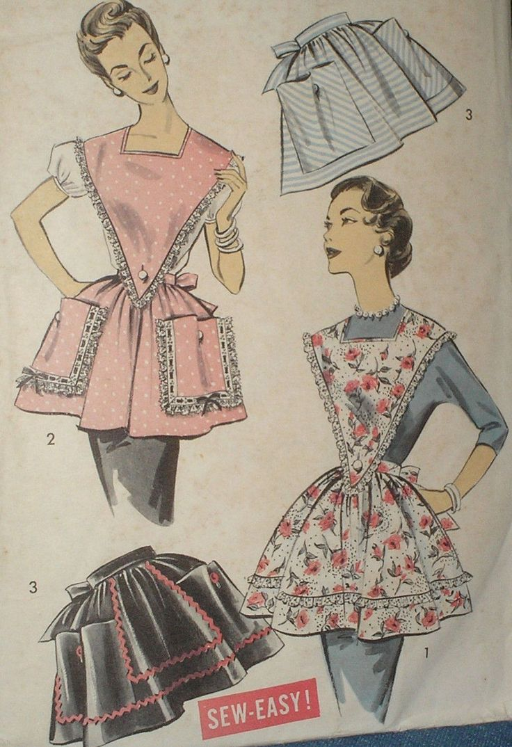 White half apron ebay - Vintage 50s Butterick 8464 Misses Bib Half Aprons Pattern Sz M Unct Ebay