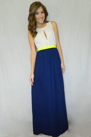 Bright Delight Maxi Dress (Navy) | Girly Girl Boutique