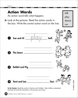 Action Words Part 2 Grade 1 Action words, 1st grade