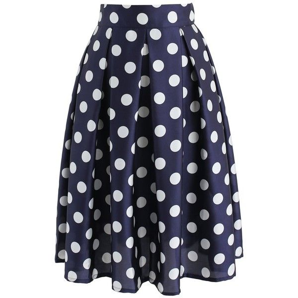 Chicwish Retro Feeling Polka Dots Pleated A-line Skirt in Navy (125 BRL) ❤ liked on Polyvore featuring skirts, blue, blue a line skirt, blue slip, blue polka dot skirt, pleated a line skirt and navy blue slip