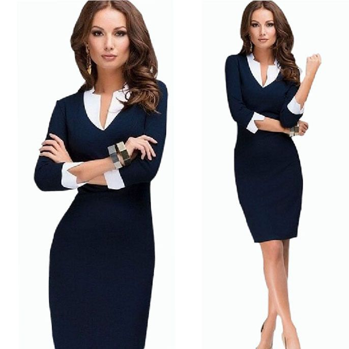 Hot Sale Women Sexy Winter Dress 2015 New Fashion Casual Dress Plus Size V-neck Sheath Blue Work Dress For Women Office Dresses   Online shopping for men, women, kids, shoes, clothing, watches, sunglasses & other products