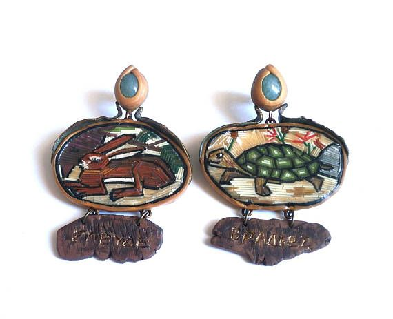 Hare and tortoise fairy tale polymer clay micro-mosaic earrings by Lijoux