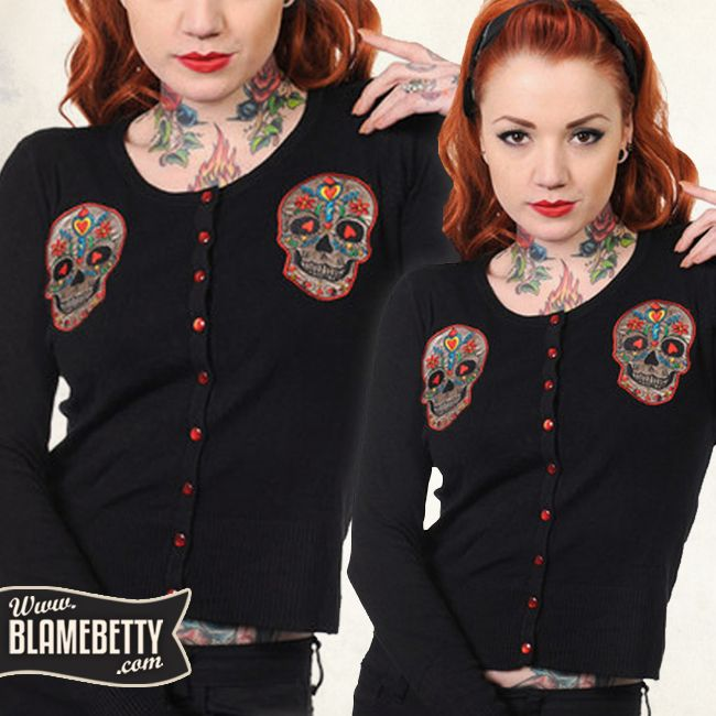 Finish your rad rockabilly look with the amazing Sugar Skull Pinup Cardigan!
