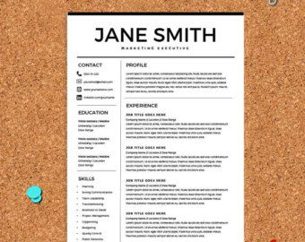 Resume Template   CV Template With Cover Letter   MS Word On Mac / PC    Design   Professional   Best Resume Templates   Instant Download