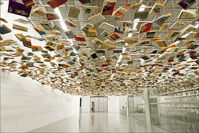 Hanif Shoaei - suspended books #art #sculpture #books #suspended #floating #flying #multitude