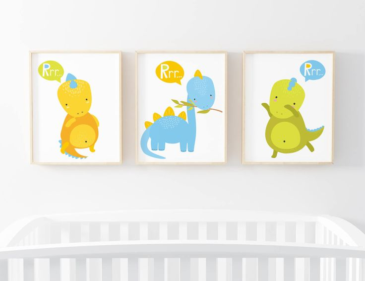 Dinosaur Print Set of 3-Baby Dinosaurs Print-Blue Dinosaur-Green Dinosaur-Yellow Dinosaur-Boy Nursery-Boy Room-Instant Download-Wall Art by ThePaperWildflower on Etsy