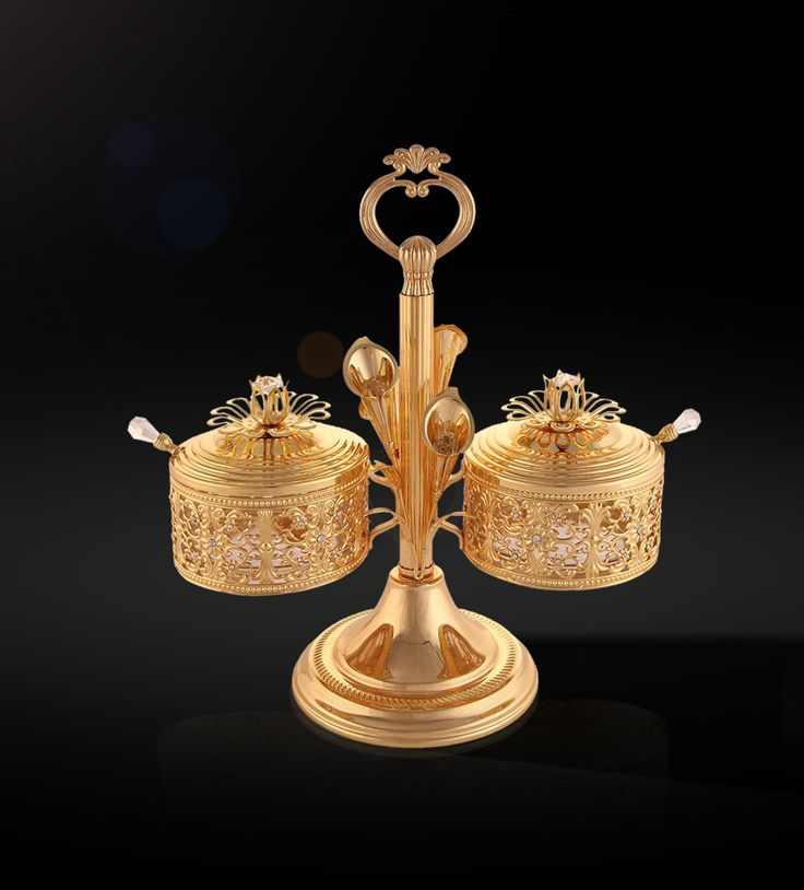 Sugar Bowl Tulip with 2 pcs. Lid & Spoon  The gold-plated Sugar Bowl has an enthralling effect to redefine tradition in style.  http://www.thedivineluxury.com/product/Sugar-Bowl-Tulip-with-2-pcs-Lid-Spoon.html