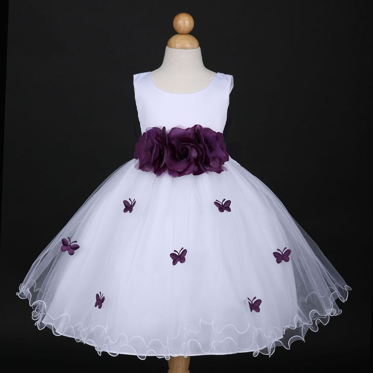 White/Plum Purple Wedding Flower Girl Dress Pageant Gown 6M 12M 18M 2 4 6 8 10