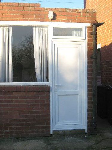 Flat Panel with Mid Rail Solid UPVC Back Door from Just Doors UK. & 41 best UPVC Back Doors images on Pinterest   Back doors Chrome and ...