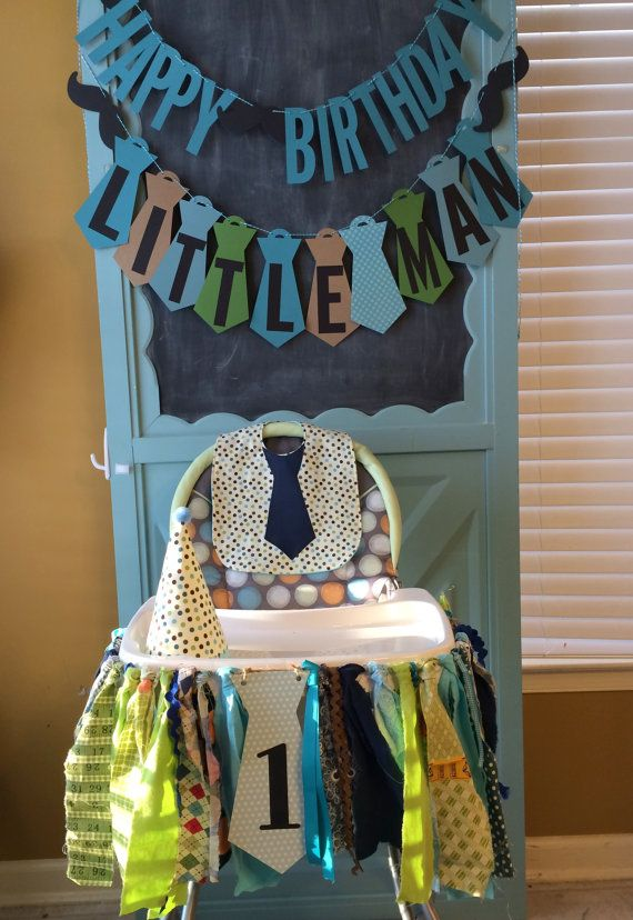 Little Man Birthday Banners Little Man High Chair & Birthday