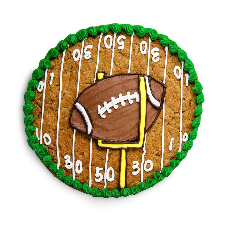 Father's Day Football Cookie Cake design.  Snickerdoodle or Chocolate Chip
