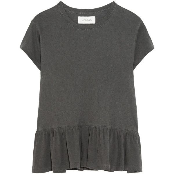 The Great The Ruffle slub cotton-jersey T-shirt ($160) ❤ liked on Polyvore featuring tops, t-shirts, frill top, frilly tops, ruffle hem top, ruffle tee and slimming tops