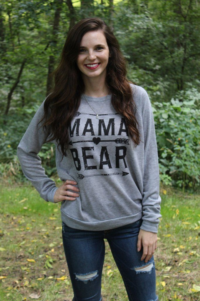Super comfy sweatshirt for all you cute Mama Bears! This lightweight, grey…