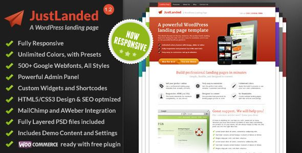 JustLanded - WordPress Landing Page (55 usd)