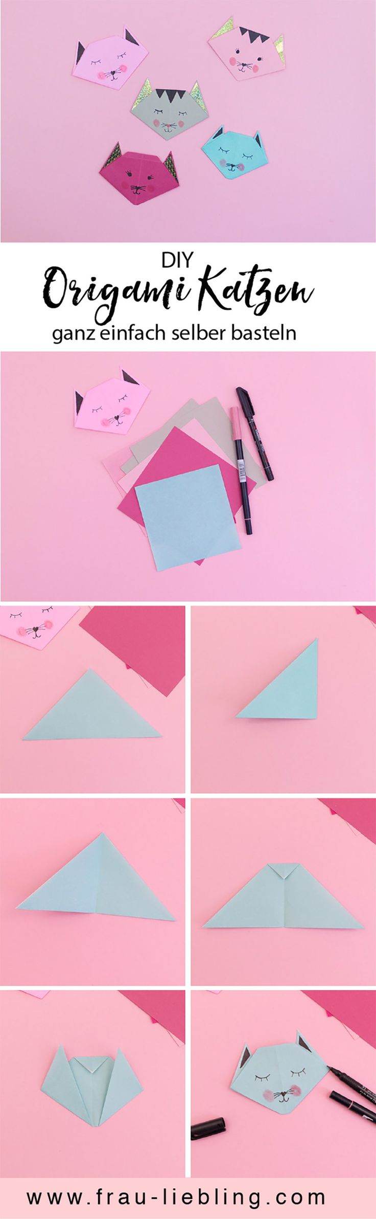 DIY Deko: Origami Katzen als Wanddeko und Geschenkidee basteln