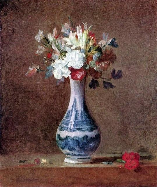 """Jean Siméon Chardin (1699-1779) Ramo de claveles, tuberosas y guisantes de olor en un jarrón de loza blanca con motivos azules, (1755). Óleo sobre lienzo, 44 x 36 cm. National Gallery of Scotland, Edimburgo.      """"El arte es una flor nacida en el camino de nuestra vida, que crece para endulzarla."""" - Arthur Schopenhauer (1788-1860)"""