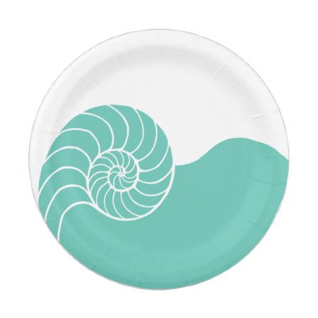 Teal Nautilus Sea Shell 7 Inch Paper Plate