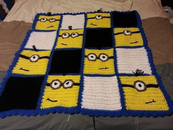 Minion inspired blanket by SilverSwanWolfsScent on Etsy, $40.00