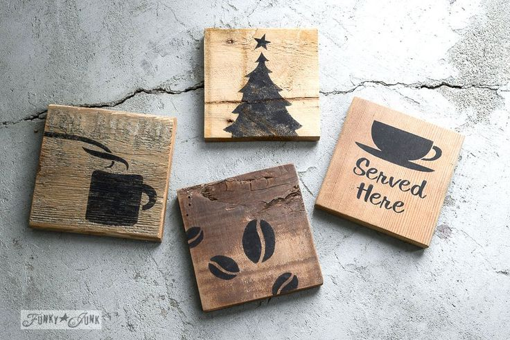 coffee themed stencilled reclaimed wood coasters using Funky Junk's Old Sign Stencils / funkyjunkinteriors.net