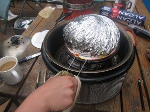 Cobb Charcoal Portable Grill - - Jiffy Pop on camping trip