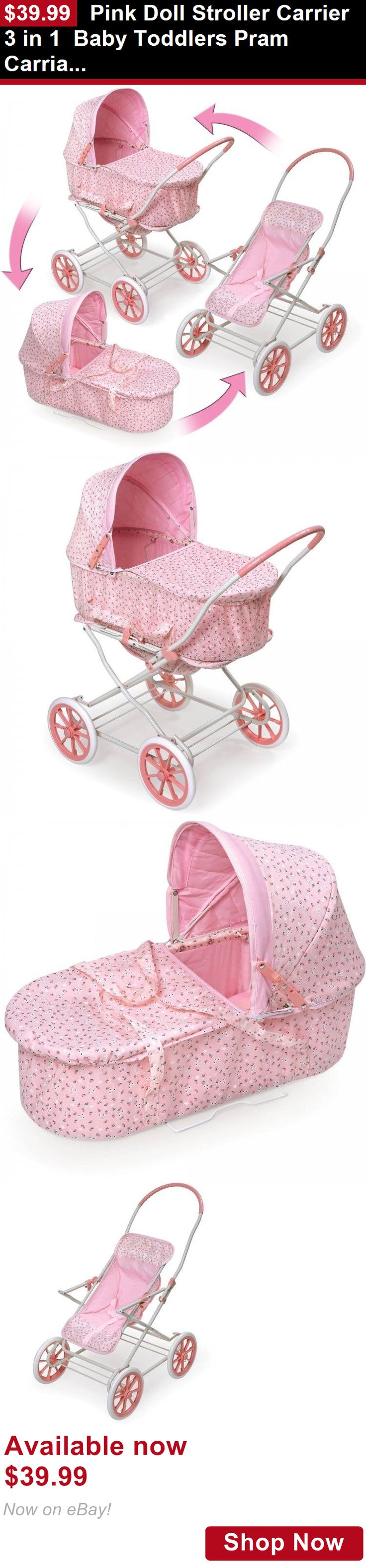 Strollers: Pink Doll Stroller Carrier 3 In 1 Baby Toddlers Pram Carriage Toy Girls BUY IT NOW ONLY: $39.99