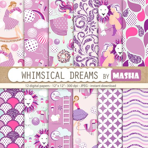 Purple digital paper: WHIMSICAL DREAMS with by MashaStudio on Etsy #whimsial #digital #paper #purple #pattern #fantasy #lion #sweet #fantasic #magical #dream #dreams #glitter #scrapbooking #images #rocking #horse #planner #stickers
