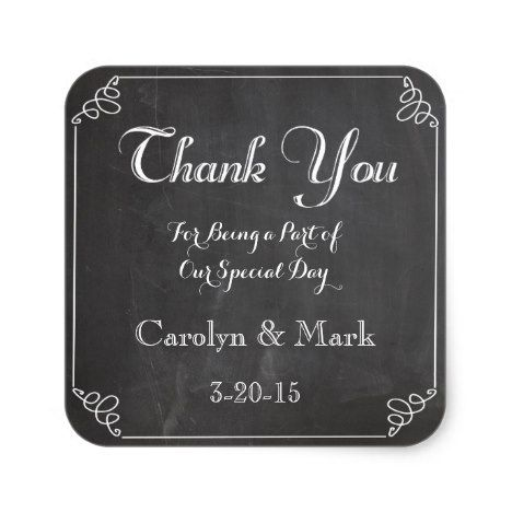 Thank You Chalkboard Vintage Wedding Favor Labels #wedding #craft #supplies