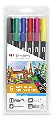 Tombow ABT-6P-1 Fasermaler Dual Brush Pen mit zwei Spitzen 6er Set, primärfarben