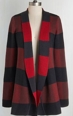 Red and navy blue striped cardigan