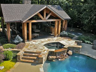 Dig the sheltered area and the hot tub. Maybe have  a pond where the pool is, or the open air fire pit.