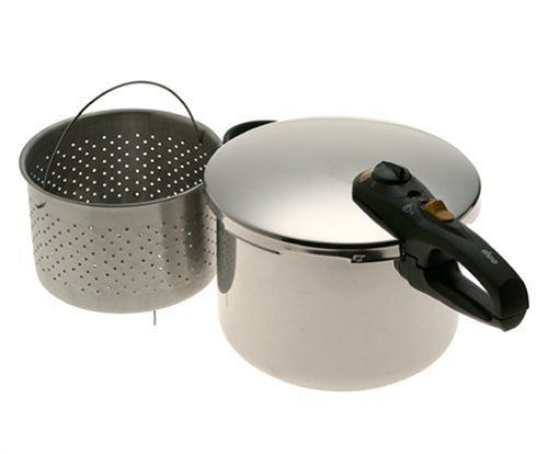 Fagor Duo 8-Quart Stainless-Steel Pressure Cooker with Steamer Basket
