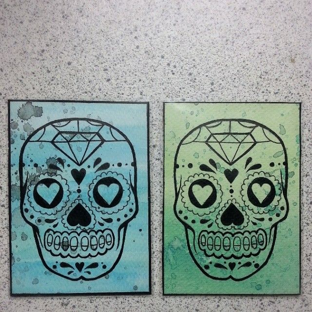 Sugar Skull ATC series - Teal&Black and Green