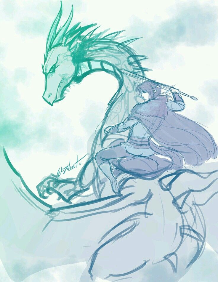 I think this is eragon and Saphira but she looks green