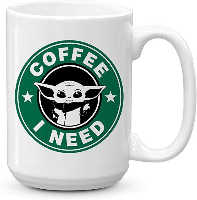 Baby Yoda Baby Stitch Friends Funny Gift Black Coffee Tea Cup Mug