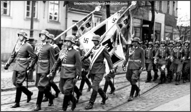 Germans parade in Tilsit in 1936