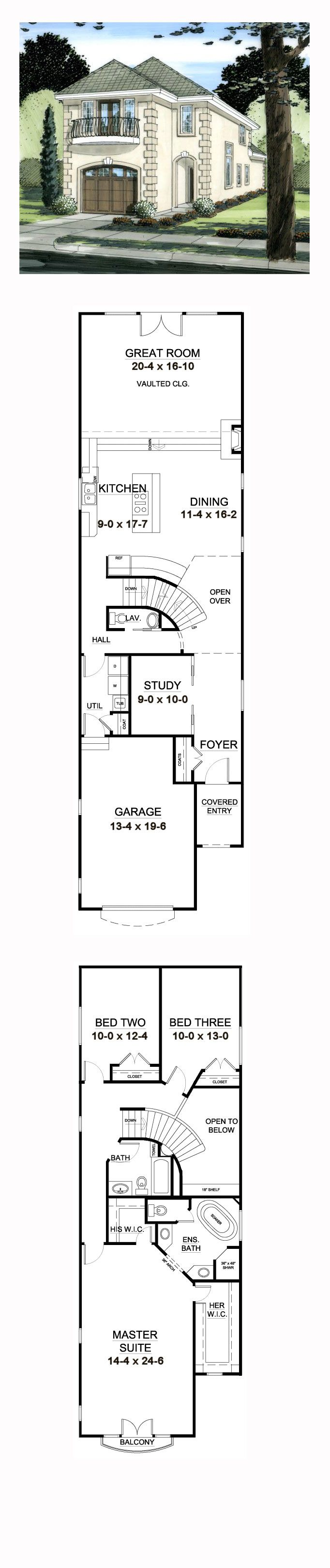 Best 25 narrow house plans ideas on pinterest for Narrow house plans with garage in back