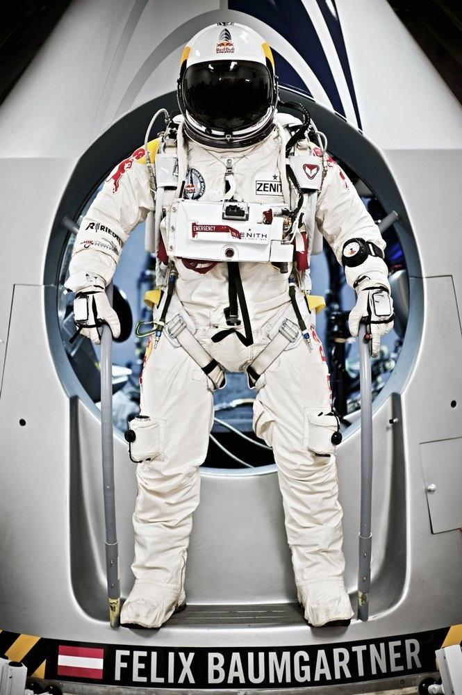 Felix Baumgartner's Supersonic Skydive Attempt - Baumgartner during the first manned test flight of the capsule, February 23, 2012.